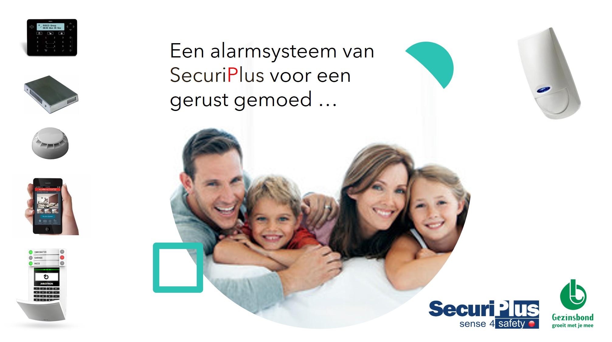 Flyer Gezinsbond actie met Securiplus beveiligingen en alarmsysteem
